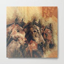 Galloping Wild Mustang Horses Metal Print