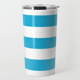Battery charged blue - solid color - white stripes pattern Travel Mug