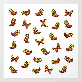 Multicolored butterflys Art Print