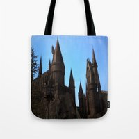 hogwarts Tote Bags featuring Hogwarts by Blue Lightning Creative