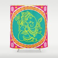 ganesh Shower Curtains featuring Ganesh by Chetna Shetty