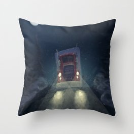 Heavy truck, by night, in the snow Throw Pillow