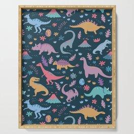 Dinosaur + Flowers Pattern Serving Tray