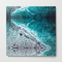 tsunami blue waves white surf Metal Print