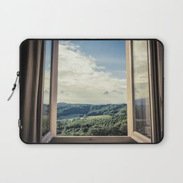 Panoramic view of the rolling hills of Chianti through a window in early morning Laptop Sleeve