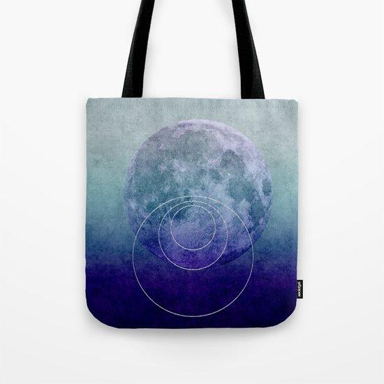Blue Moon geometric circle mixed media Tote Bag