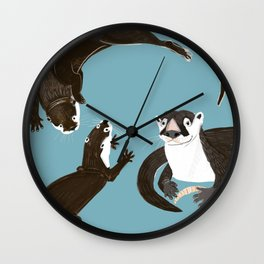 Asiatic and African clawless otter Wall Clock
