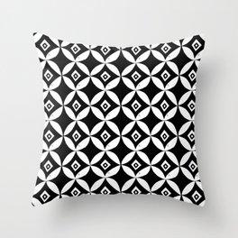 Linocut minimal scandinavian stars circles geometric black and white pattern Throw Pillow