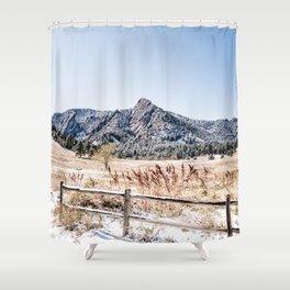 Flatirons Boulder // Colorado Scenery Mountain Landscape Snowfall Fence Line Shower Curtain
