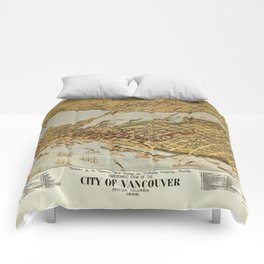 Vintage Pictorial Map of Vancouver BC (1898) Comforters