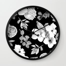 Night bloom - moonlit bw Wall Clock