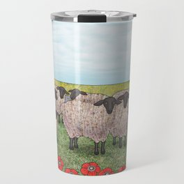 Suffolk sheep in a field with poppies Travel Mug
