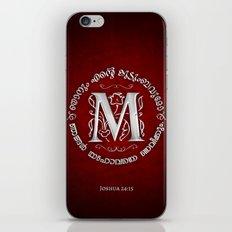 Joshua 24:15 - (Silver on Red) Monogram M iPhone & iPod Skin