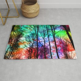 colorful abstract forest Rug