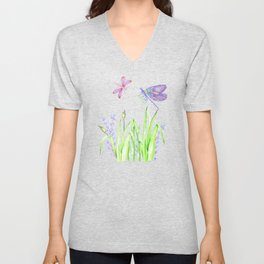 Dragonfly in pink and purple Unisex V-Neck