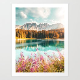 Stunning Italian Lake - Lago Di Carezza Art Print