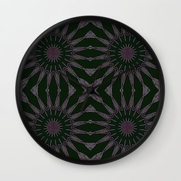 Eggplant Purple Pinwheel Flowers Wall Clock