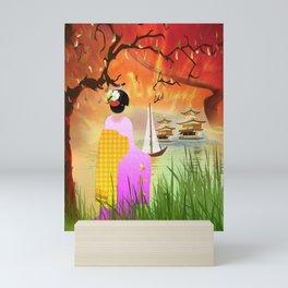 Geisha am Meer Mini Art Print