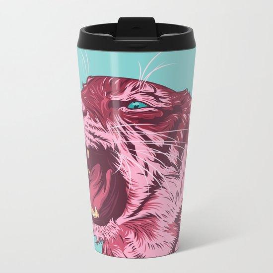 Magenta tiger Metal Travel Mug