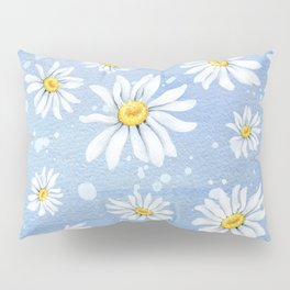 Spring Daisies On Sky Blue Watercolour Pillow Sham