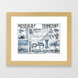 Vintage Illustrative Map of Kentucky & Tennessee (1912) Framed Art Print