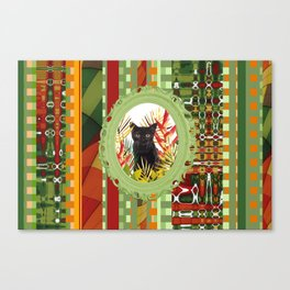 Black Cat jungle Frame pattern Canvas Print