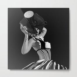Corset Hat Lady Metal Print