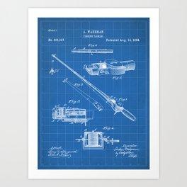 Fishing Rod Patent - Fishing Art - Blueprint Art Print