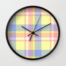 Yellow Plaid Wall Clock