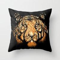 Throw Pillows featuring Hidden Hunter by carbine