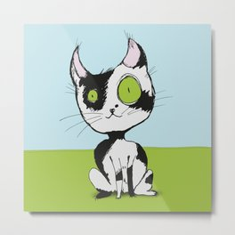 Cute black and white cat Metal Print