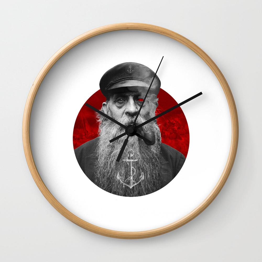 The Seaman Wall Clock By Upskydown Society6