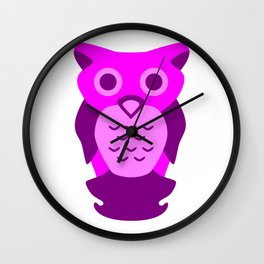 Wise Purple Owl Wall Clock