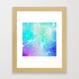 Modern turquoise purple watercolor abstract marble Framed Art Print
