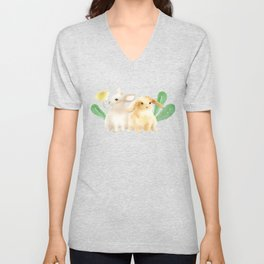 Cute Rabbits in Watercolor Unisex V-Neck
