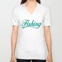 fishing V-neck T-shirts featuring Fishing by TurkeysDesign