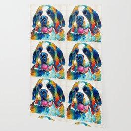 Colorful Saint Bernard Dog by Sharon Cummings Wallpaper