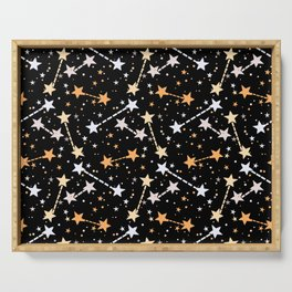 Night sky with gold silver stars Serving Tray