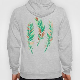 Watercolour Feathers - Greenery and Copper Hoody