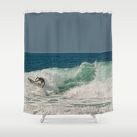 surfer Shower Curtains featuring Surfer by dawne photography