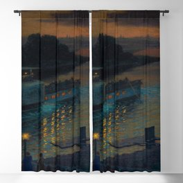 A Nightly River Cruise, Mississippi River by Ernst Max Pietschmann Blackout Curtain
