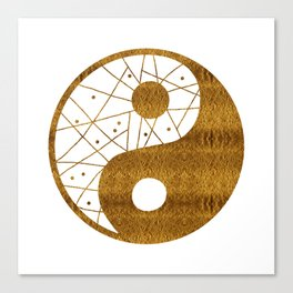 Abstract YIN AND YANG Taijitu Symbol | gold Canvas Print