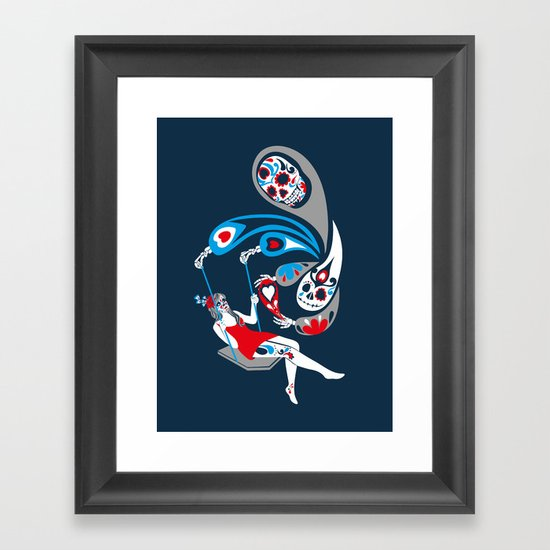 Swinging with La Muerta Framed Art Print