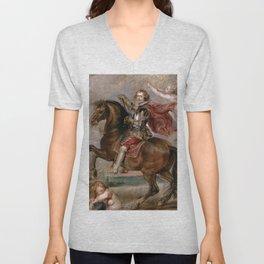 Peter Paul Rubens: Equestrian Portrait of the Duke of Buckingham Unisex V-Neck