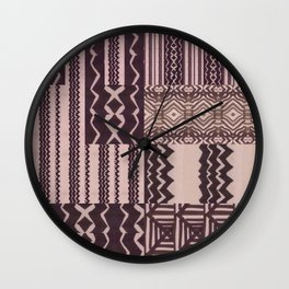 Patchwork Geometric Print in Black, Grey & White Wall Clock
