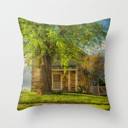 The Stone Cottage On A Spring Evening Throw Pillow