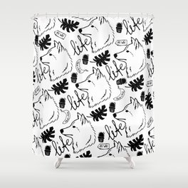 Black white hand drawn wolf floral typography Shower Curtain