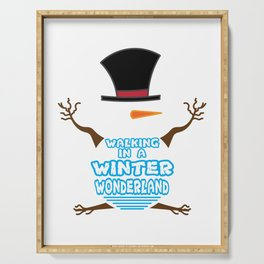 Hilarious & Joyful Xmas Tshirt Design Winter Wonderland Serving Tray