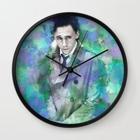 tom hiddleston Wall Clocks featuring Tom Hiddleston Watercolor (mock) by Angi