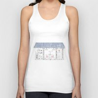 cafe Tank Tops featuring Cat Cafe by ArtRonin